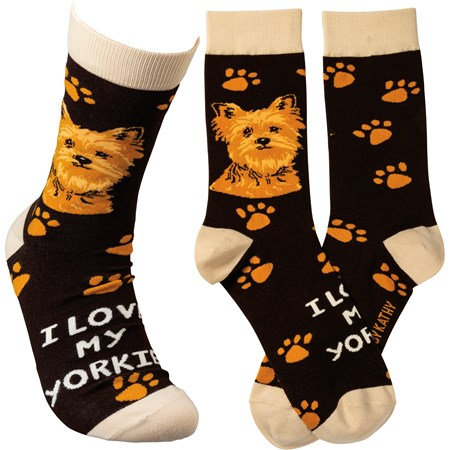 Socks - I Love My Yorkie - One Size Fits Most - Cotton, Nylon, Spandex