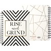 "Spiral Notebook - Rise And Grind - 7"" x 9"" x 0.50"" - Paper, Metal"
