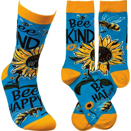 Socks - Bee Kind Bee Happy - One Size Fits Most - Cotton, Nylon, Spandex