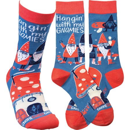 Socks - Hangin' With My Gnomies - One Size Fits Most - Cotton, Nylon, Spandex