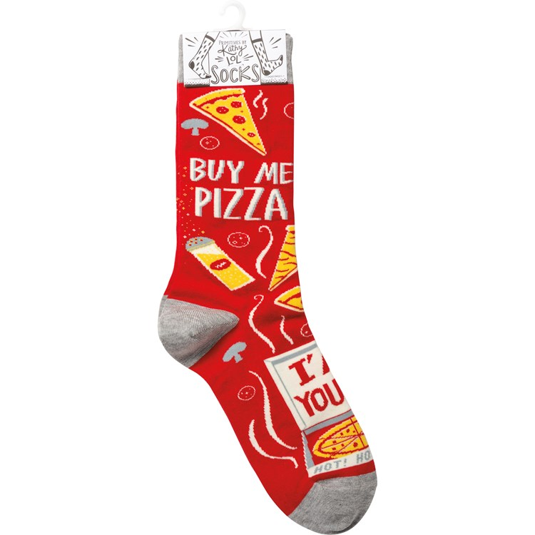 Socks - Buy Me Pizza I'm Yours - One Size Fits Most - Cotton, Nylon, Spandex