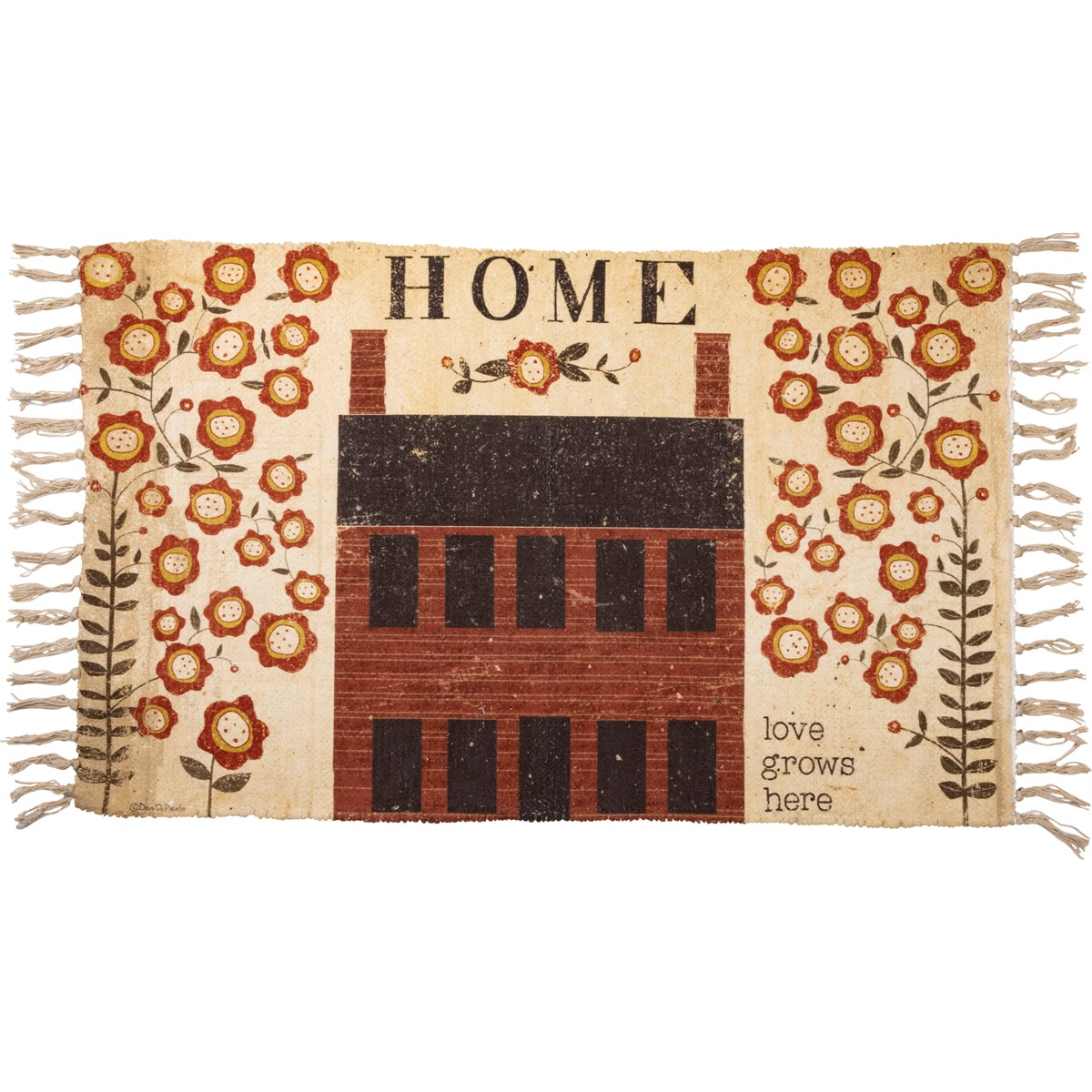 "Rug - Home Love Grows Here - 34"" x 20"" - Polyester, Cotton"