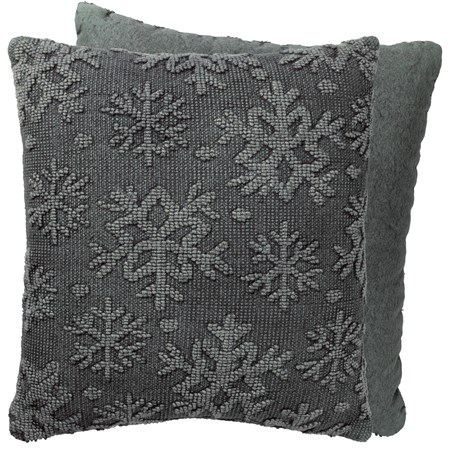 "Pillow - Snowflake - 18"" x 18"" - Cotton, Canvas, Zipper"