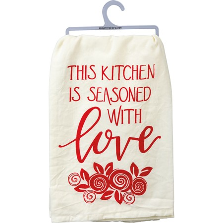 "Dish Towel - This Kitchen Is Seasoned With Love - 28"" x 28"" - Cotton"