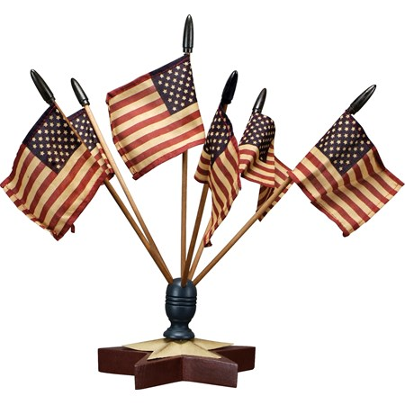 "Star Flag Finial With Flags - Flag: 5.25"" x 3.50"", Stick: 11.25"", Base: 6.50"" Diameter x 4"" - Wood, Metal, Fabric"