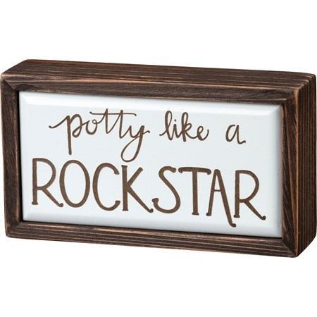 "Box Sign - Potty Like A Rock Star - 6.75"" x 3.75"" x 1.75"" - Wood"