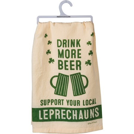 "Dish Towel - Drink More Beer Support Leprechauns - 28"" x 28"" - Cotton"