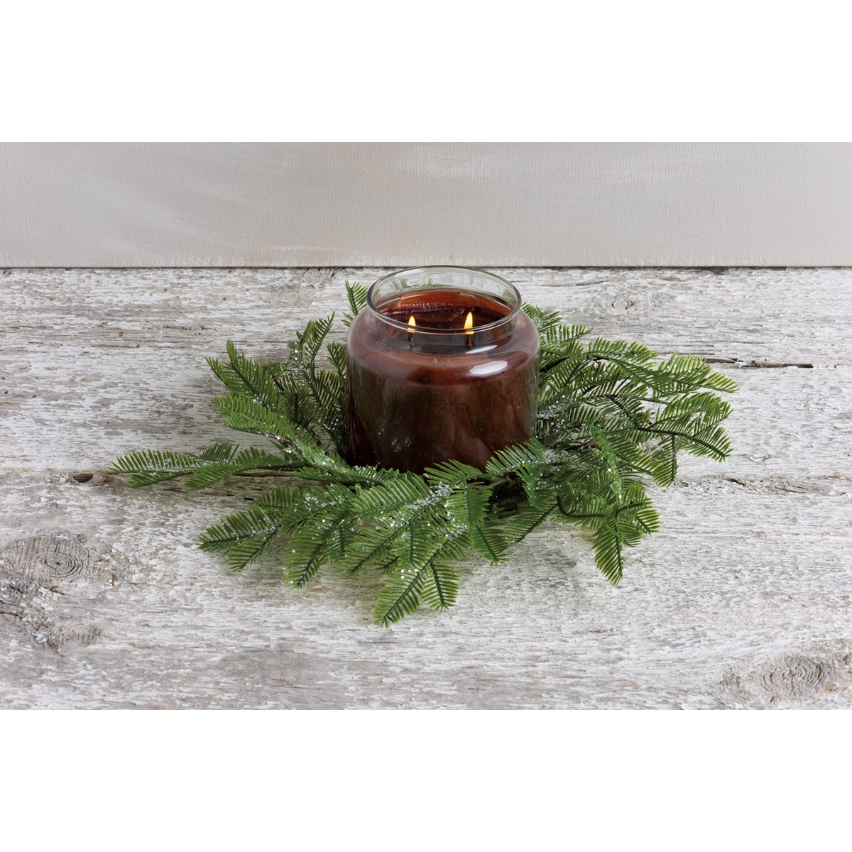 "Candle Ring - Lg Greens - 5"" Outside Diameter - Plastic, Wire, Glitter"