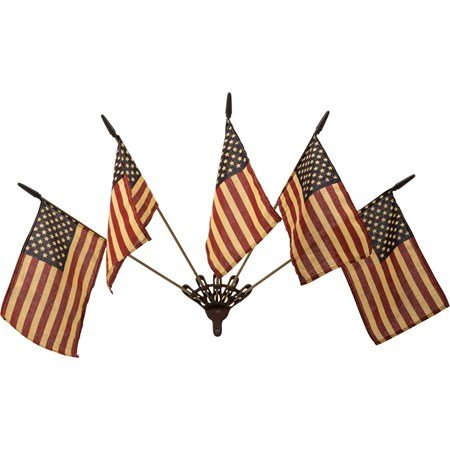 "Primitive Flag Wall Mount w/Flags - Flag: 4.75"" x 6"", Stick: 18"", Mount: 5.50"" x 3"" x 1"" - Wood, Metal, Fabric"