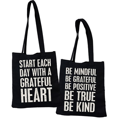 "Tote - Be True Be Kind  - 14"" x 15.50"", 12"" Handle Drop - Cotton"