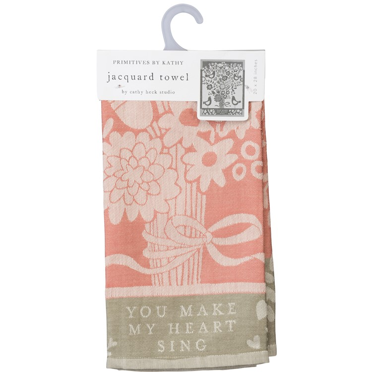 "Dish Towel - You Make My Heart Sing - 20"" x 26"" - Cotton, Linen"