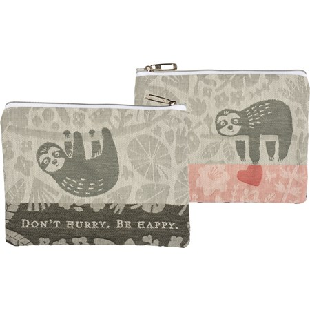 "Zipper Pouch - Don't Hurry Be Happy - 9.50"" x 7"" - Cotton, Metal"