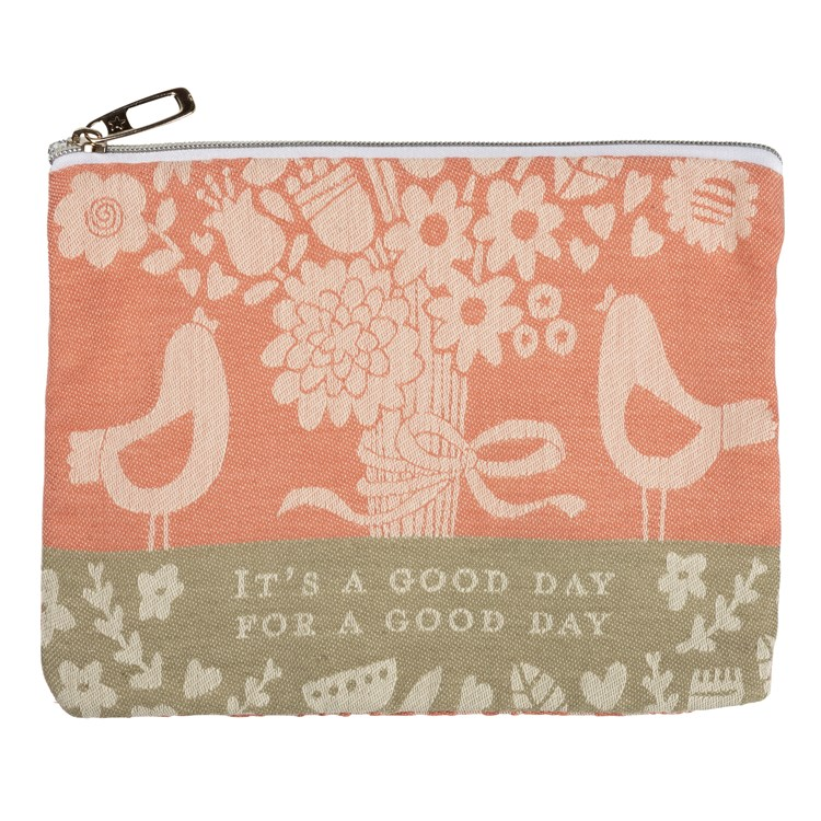 "Zipper Pouch - It's A Good Day For A Good Day - 9.50"" x 7"" - Cotton, Metal"