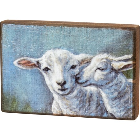 "Block Sign - Sheep And Lamb - 6"" x 4"" x 1"" - Wood"