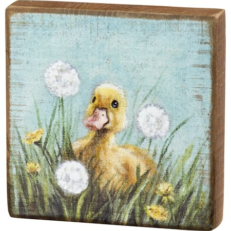 "Block Sign - Duckling - 4.50"" x 4.50"" x 1"" - Wood"