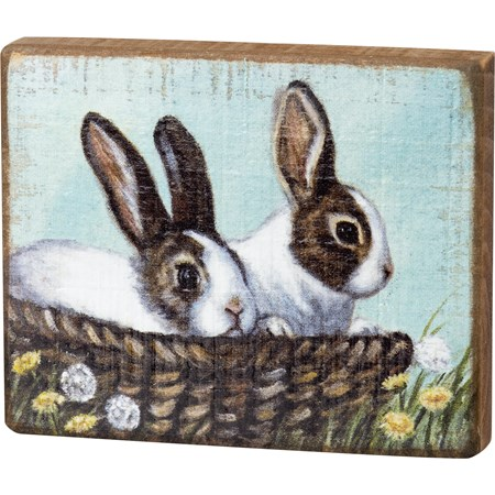"Block Sign - Bunnies - 5.50"" x 4.50"" x 1"" - Wood"