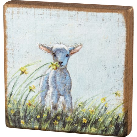 "Block Sign - Lamb - 5"" x 5"" x 1"" - Wood"