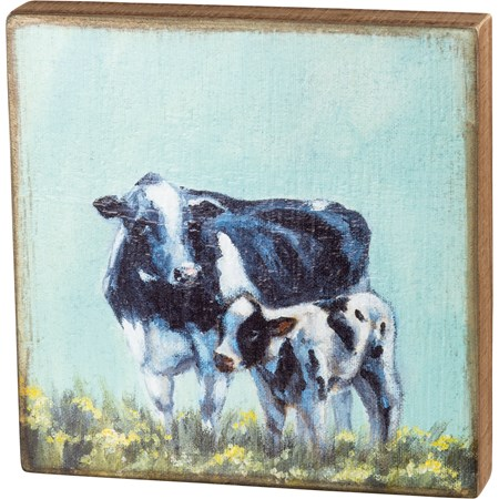 "Box Sign - Cow And Calf - 10"" x 10"" x 1.75"" - Wood"