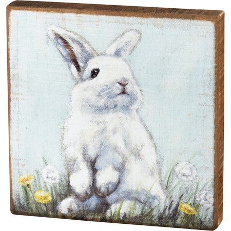 "Block Sign - Rabbit - 6"" x 6"" x 1"" - Wood"