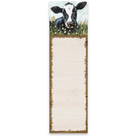 "List Notepad - Cow - 2.75"" x 9.50"" x 0.25"" - Paper, Magnet"