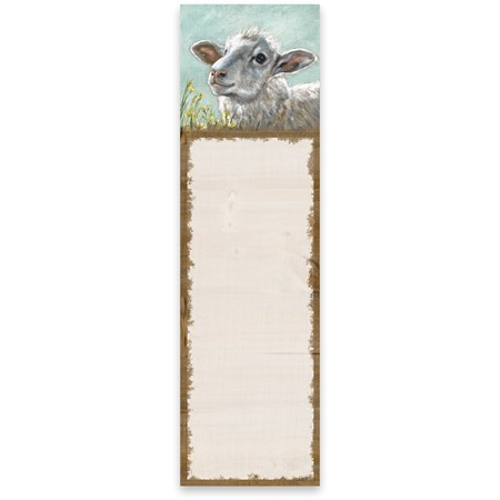 "List Notepad - Sheep - 2.75"" x 9.50"" x 0.25"" - Paper, Magnet"
