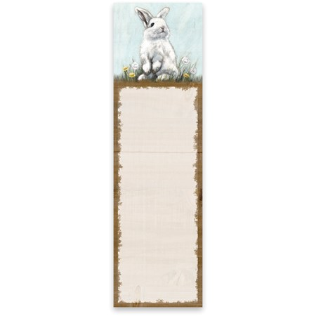 "List Notepad - Rabbit - 2.75"" x 9.50"" x 0.25"" - Paper, Magnet"