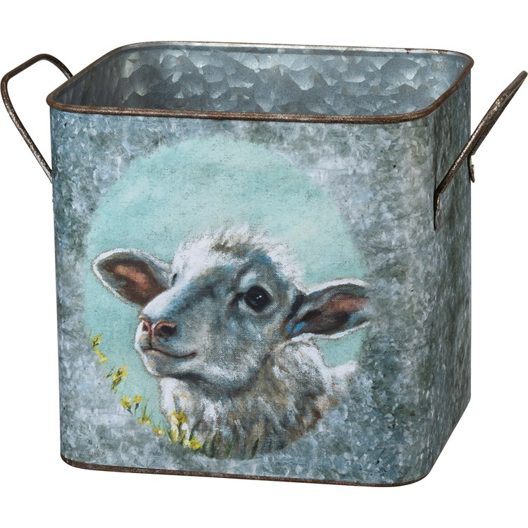 "Bin Set - Cow And Sheep - 9.25"" x 8.25"" x 7.75"", 7.50"" x 7.25"" x 6.50"" - Metal, Paper"