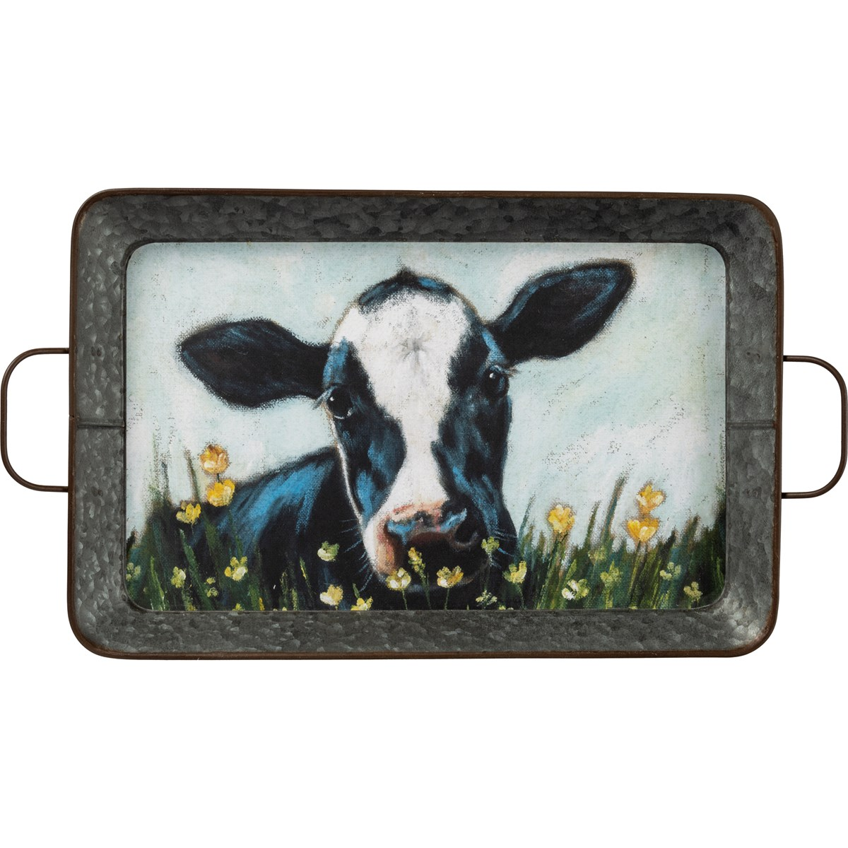 "Tray Set - Sheep And Cow - 19"" x 12.50"" x 2"", 16.50"" x 11"" x 2"" - Metal, Paper"
