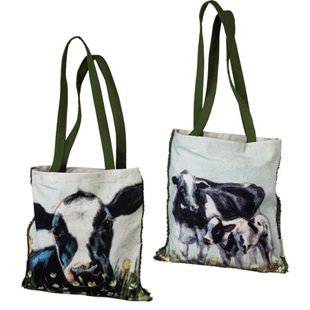 "Tote - Cows - 14"" x 15.50"", 12"" Handle Drop - Cotton"