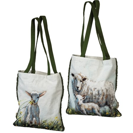 "Tote - Sheep - 14"" x 15.50"", 12"" Handle Drop - Cotton"