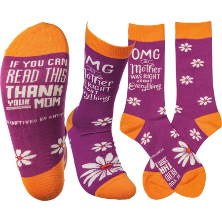 Socks - OMG My Mother Was Right - One Size Fits Most - Cotton, Nylon, Spandex
