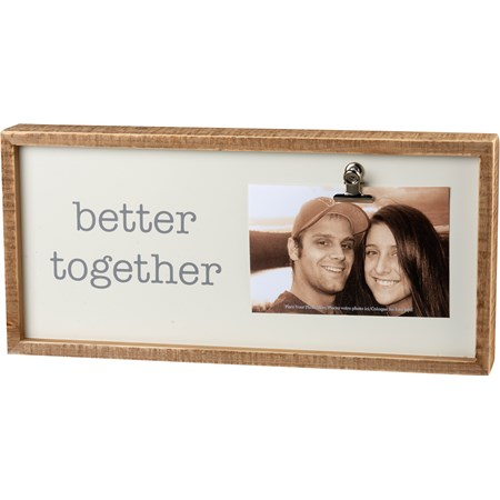 "Inset Box Frame - Better Together - 15"" x 7"" x 2"", Fits 6"" x 4"" photo - Wood, Metal"