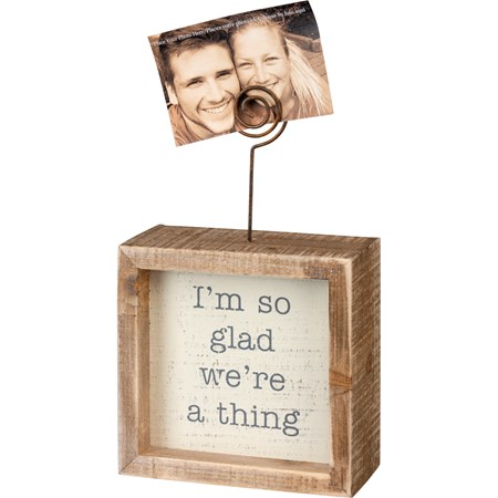 "Inset Photo Block - I'm So Glad We're A Thing - 4"" x 4"" x 1.50"", Plus Wire - Wood, Wire"
