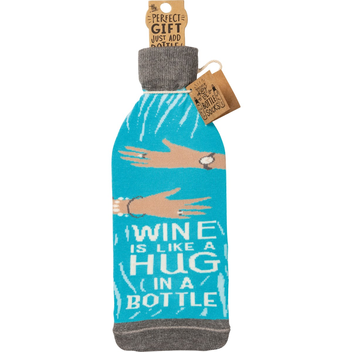 "Bottle Sock - Hug In A Bottle - 3.50"" x 11.25"", Fits 750mL to 1.5L bottles - Cotton, Nylon, Spandex"