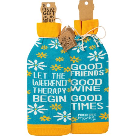 "Bottle Sock - Let The Weekend Therapy Begin - 3.50"" x 11.25"", Fits 750mL to 1.5L bottles - Cotton, Nylon, Spandex"