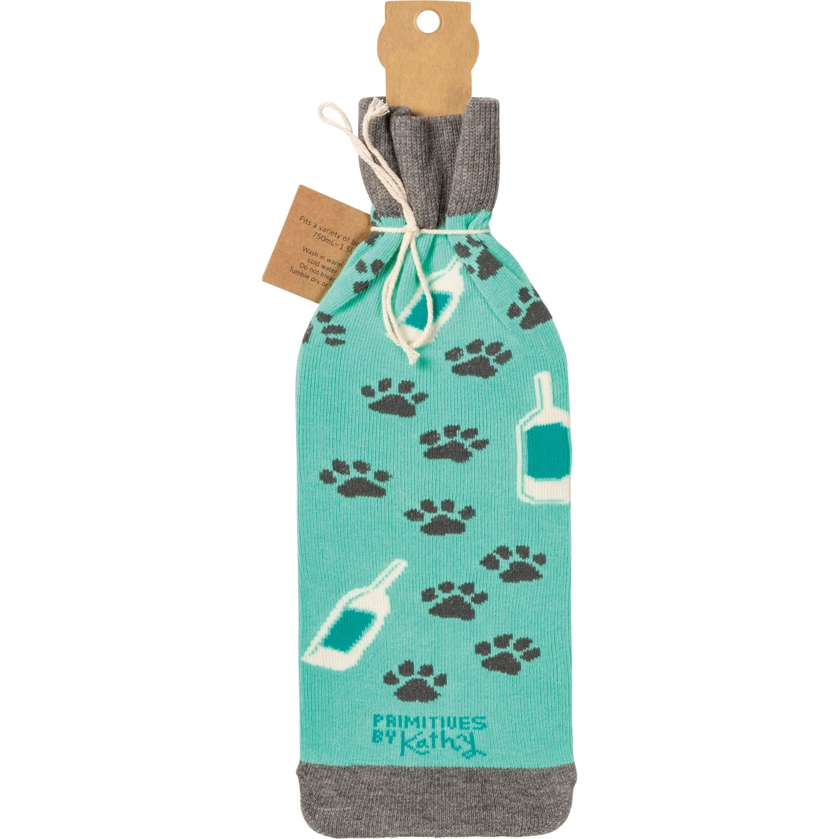 "Bottle Sock - Cats & Wine - 3.50"" x 11.25"", Fits 750mL to 1.5L bottles - Cotton, Nylon, Spandex"