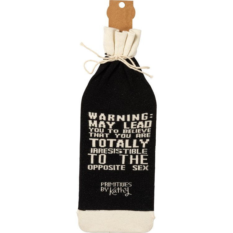"Bottle Sock - When Wine Goes In Wisdom Comes Out - 3.50"" x 11.25"" - Cotton, Nylon, Spandex"