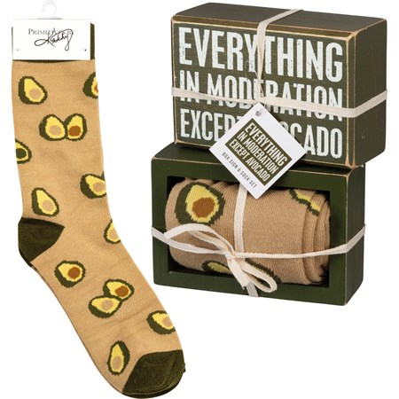"Box Sign & Sock Set - Except Avocado - Box Sign: 4.50"" x 3"" x 1.75"", Socks: One Size Fits Most - Wood, Cotton, Nylon, Spandex, Ribbon"