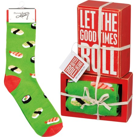 "Box Sign & Sock Set - Let The Good Times Roll - Box Sign: 3"" x 4.50"" x 1.75"", Socks: One Size Fits Most - Wood, Cotton, Nylon, Spandex, Ribbon"