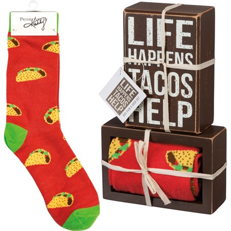 "Box Sign & Sock Set - Life Happens Tacos Help - Box Sign: 3"" x 4.50"" x 1.75"", Socks: One Size Fits Most - Wood, Cotton, Nylon, Spandex, Ribbon"