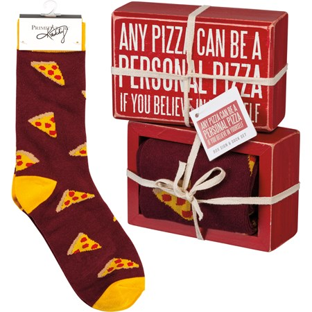 "Box Sign & Sock Set - A Personal Pizza - Box Sign: 4.50"" x 3"" x 1.75"", Socks: One Size Fits Most - Wood, Cotton, Nylon, Spandex, Ribbon"