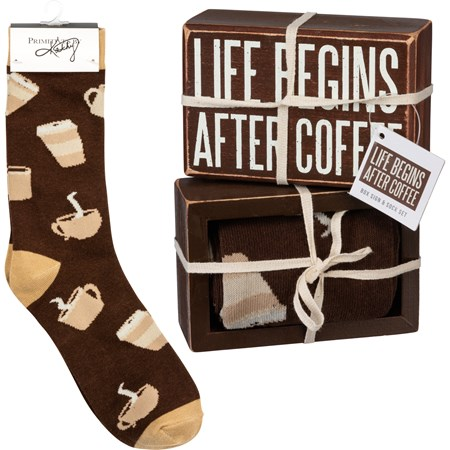 "Box Sign & Sock Set - Life Begins After Coffee - Box Sign: 4.50"" x 3"" x 1.75"", Socks: One Size Fits Most - Wood, Cotton, Nylon, Spandex, Ribbon"