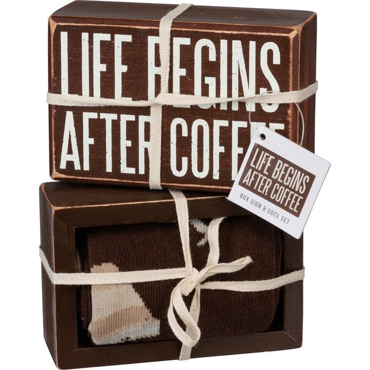 "Box Sign & Sock Set - Life Begins After Coffee - Box Sign: 4.50"" x 3"" x 1.75"", Socks: One Size Fits Most - Wood, Cotton, Nylon, Spandex, Ribbon"