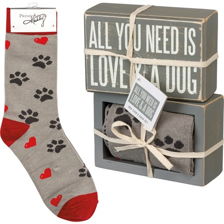 "Box Sign & Sock Set - Love And A Dog - Box Sign: 4.50"" x 3"" x 1.75"", Socks: One Size Fits Most - Wood, Cotton, Nylon, Spandex, Ribbon"