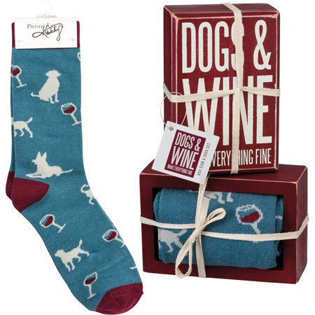 "Box Sign & Sock Set - Dogs And Wine  - Box Sign: 3"" x 4.50"" x 1.75"", Socks: One Size Fits Most - Wood, Cotton, Nylon, Spandex, Ribbon"