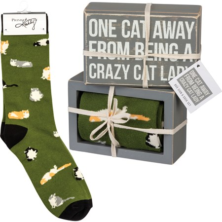 "Box Sign & Sock Set - One Cat Away - Box Sign: 4.50"" x 3"" x 1.75"", Socks: One Size Fits Most - Wood, Cotton, Nylon, Spandex, Ribbon"