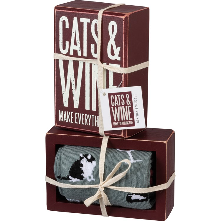 "Box Sign & Sock Set - Cats And Wine - Box Sign: 3"" x 4.50"" x 1.75"", Socks: One Size Fits Most - Wood, Cotton, Nylon, Spandex, Ribbon"