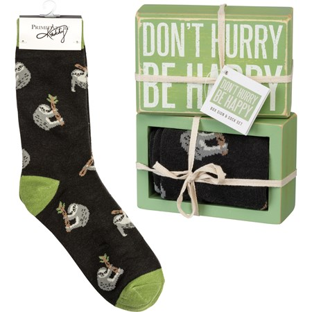 "Box Sign & Sock Set - Don't Hurry Be Happy - Box Sign: 4.50"" x 3"" x 1.75"", Socks: One Size Fits Most - Wood, Cotton, Nylon, Spandex, Ribbon"