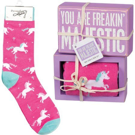 "Box Sign & Sock Set - You Are Freakin' Majestic - Box Sign: 4.50"" x 3"" x 1.75"", Socks: One Size Fits Most - Wood, Cotton, Nylon, Spandex, Ribbon"