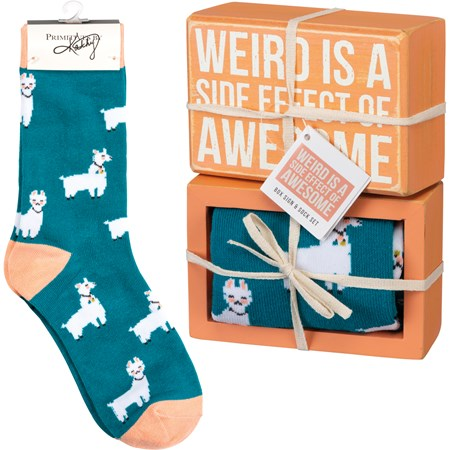 "Box Sign & Sock Set - Weird Side Effect Of Awesome - Box Sign: 4.50"" x 3"" x 1.75"", Socks: One Size Fits Most - Wood, Cotton, Nylon, Spandex, Ribbon"
